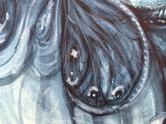 Detail from Nacreous Virgin II - watercolour on paper, indigo paint, 140cm x 75cm